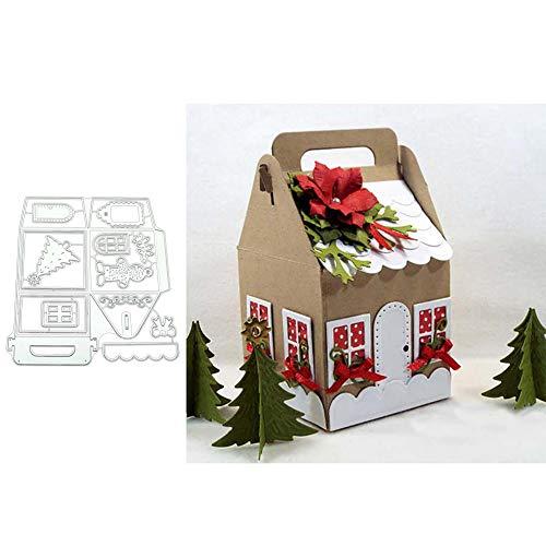 Kuizhiren1 Stanzschablone, Stanzformen, Weihnachts-Haus, Box, Metall, DIY Scrapbook, Prägung Papier Karten Basteln, Karbonstahl, Silver