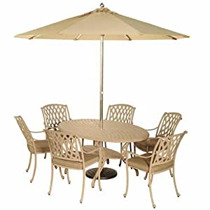 Bramblecrest Rome Elliptical Table Dining Set with 6 Etna Armchairs - Natural Metal Garden Furniture Set - 6 Seater Dining Set - Outdoor Patio Table and Chair Set