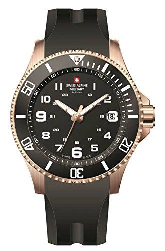 Swiss Alpine Military Red Force 7036.1867SAM Reloj Suizo Caja Acero Recubierta PVD Rosa Esfera Negra Correa Caucho Negra
