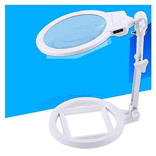 WSC HD LED Lampe Desktop Lupe mit Lampe 10 Mal Test Handy Reparatur Schreibtischlampe Weiß Glaslinse Lampe Einstellbare Schönheit Uhr Reparatur Werkbank (Color : Black)