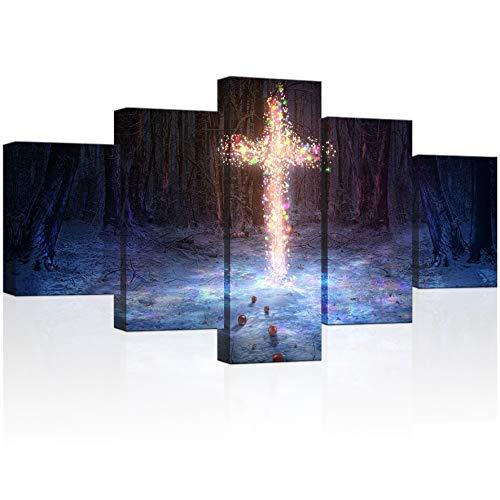 te Leinwanddruck Wand Art A Kreuz in der Beleuchtet mit Weihnachtsbeleuchtung 5Panels Christian Malerei Bilder für die Wand Bereit Handhabung auf 81,3x 152,4cm Insgesamt ()