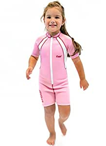 Cressi Unisex Child Cressi 1.5 mm Shorty Shorty Thermal Wetsuit, Pink/White, S (Manufacturer Size: 1-2)