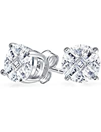 c1200fcbe266 Bling Jewelry CZ Hombre Plata de Ley Juego de ceta Redonda Corte Inviible stud  Arete 8mm