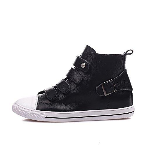 Shenn Donna Caviglia Alta Fibbia Classici Pelle Formatori Sneaker Scarpe Nero