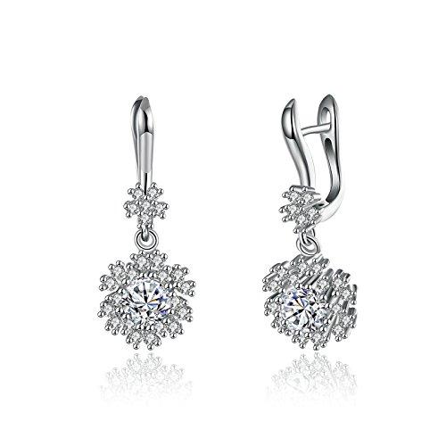 Bishilin Ohrschmuck Damen Ohrringe Edelstahl 4A Zirkonia Schneeflocken Rosegold Ohrhänger für Frauen Weihnachts-Schmuck
