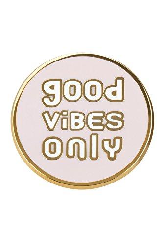 """likalla Statement Pin Anstecker Button """"GOOD VIBES ONLY"""", gold-plattiert, hochwertige Hartemaille zweifarbig rosa und weiß. Girlie Brosche zum Anstecken."""