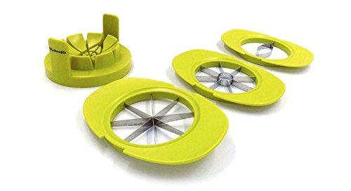 Yellowfit 4 in 1 Obstschneider Set mit Fruchthalter/Mangoschneider / Apfelschneider/Birnenschneider / Tomatenschneider/TÜV-geprüft /
