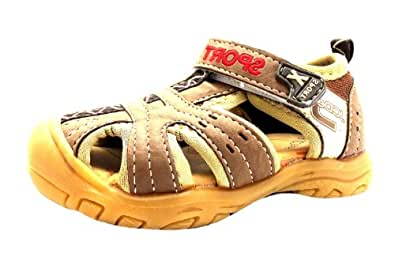 Size 4 Boy's N1044 Jcdees Brown Closed Toe Fisherman Style Velcro Sandals