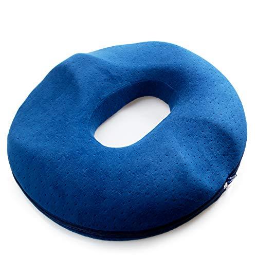 kinokoo Hemorrhoids Cojín de asiento Donut después de la cirugía y el cojín de parto Aliviar el dolor de la sesión (azul para mujer)