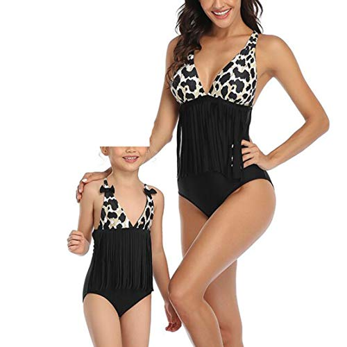 Gaga city Bañadores Familia con Estampado de Leopardo Madre Padre Hijo Hija Traje de Baño Bikini Set...