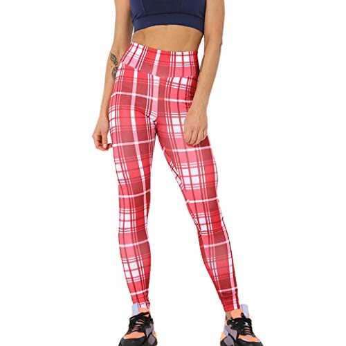 Kostüm Gamaschen Muster - WOZOW Clearance Leggings Gamaschen Damen Plaid Muster Print Druck Long Lang Trousers High Waist Dünn Skinny Strecken Casual Fitness Sporthosen Yoga Workout Laufhose (L,rot)