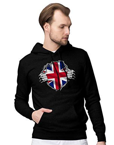 BLAK TEE Superheroes Costume Union Jack Flag Unisex Pullover Hoodie M