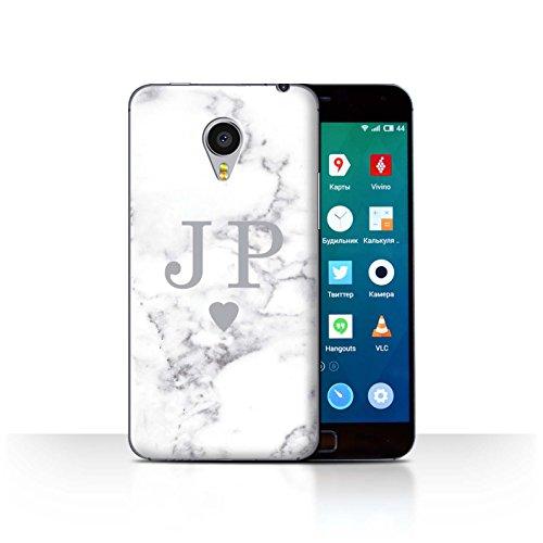 Stuff4® Personalisiert Weiß Marmor Mode Hülle für Meizu MX4 Pro/Solide Silber Herz Design/Initiale/Name/Text Schutzhülle/Case/Etui