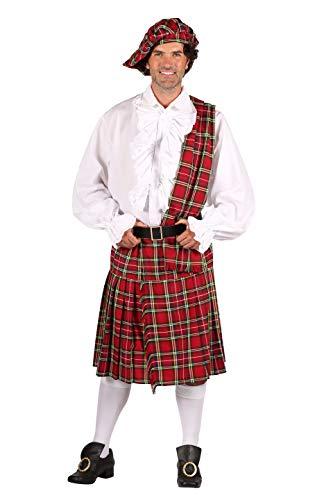 Deluxe Schotten-Rock Rot mit Schotten-Mütze und Scherpe Gemustert Kelten-Rock Karneval Fasching Theater Hochwertige Verkleidung Fastnacht Größe XL Rot (Theater Kostüm Schottland)