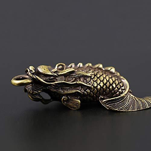 ETHAN Weinlese handgemachte reines Kupfer Messing Fisch Drache Schlüsselbund Anhänger kreative Retro glückliche Schlüsselanhänger hässliche Alten Stil, 2 -