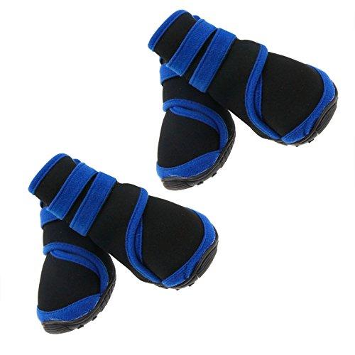 Preisvergleich Produktbild 4Pc Haustier Blau Wasserfeste Rutschhemmende Schuhe Neopren Schutzstiefel L