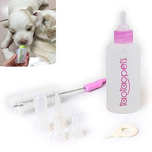 KOBWA Aufzuchtflasche, Pet Nurser Flasche; 1 Pet Babyflasche Set mit 1 Reinigungsbürste 4 Sauger und 1 Nadel für Hund Katze tzchen ndchen Kleintiere, 60ML