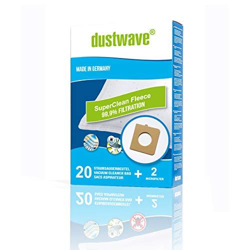 20 Staubsaugerbeutel + 2 Filter geeignet für Rowenta City Space RO2643EA (Smart & Compact); City Space RO2423, RO2441, RO2451 WA Staubsauger von dustwave® - Markenstaubbeutel Made in Germany