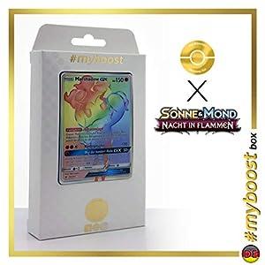 Marshadow-9GX 156/147 Arcoíris Secreta - #myboost X Sonne & Mond 3 Nacht in Flammen - Box de 10 Cartas Pokémon Aleman