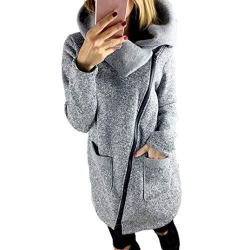 Lucky mall Frauen Kapuzenjacke Mantel Langes Reißverschluss-Sweatshirt Herbst Winter Outwear, Damen Langarm-Reißverschluss