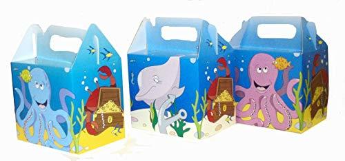 6 Geschenkboxen * Meerestiere im Ozean * für Kinderparty und Kindergeburtstag | Fische Krabben Krake Delfin Seepferdchen Kinder Mitgebsel Partytüten Party Set