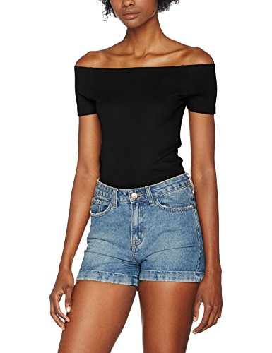 Urban Classics TB1500 Damen T-Shirt Ladies Off Shoulder Rib Tee Schwarz (Black 7), - Damen Kostüm Shirts