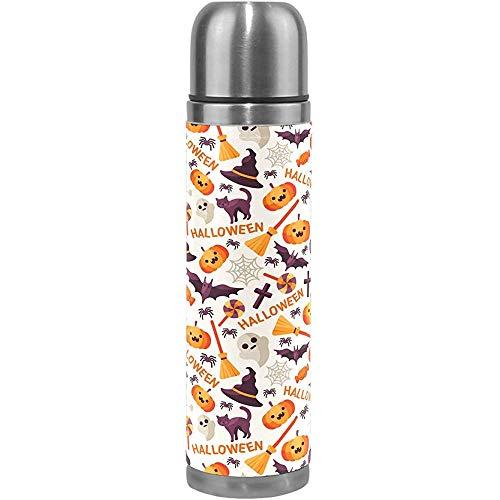 Monican Halloween Vakuum Wasserflasche, Kürbis Spinne Hexenhut Besen Kessel Schädel Sport Kaffee Reisebecher Tasse Thermoskanne (500 ml)