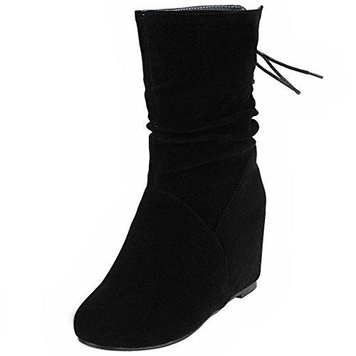 COOLCEPT Knöchelriemchen Damen Keilabsatz Runde Zehe Stiefel Warm Gefüttert Gemütlich Stiefeletten Mode Schwarz