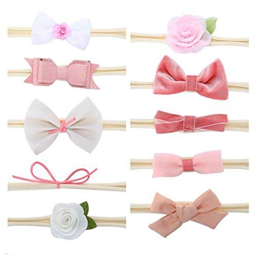 VIccoo 5 / 10Pieces geborenes Baby Traceless Hairband süßes Bowknot-Blumen-Stirnband handgemachtes nähendes elastisches Headwrap-Foto-Stützen - A# (Going Home Babys Outfits)