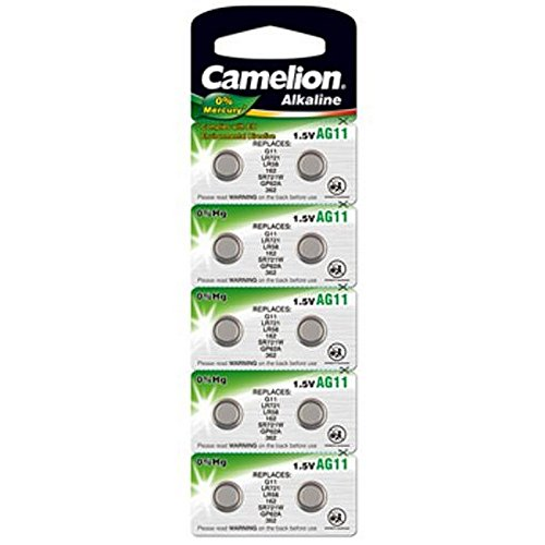 10 Stk. (1 Blister) Camelion 0%HG Alkaline 1,5V Knopfzellen Uhren-Batterien AG11, 162, 361, 362,...