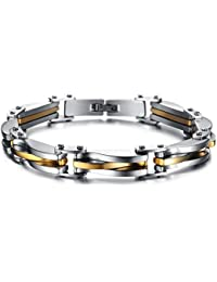 Yellow Chimes Black Silver Metal Bracelet For Men & Boys