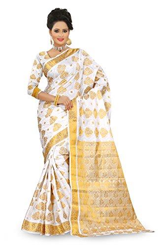 Kanchipuram White Art Silk Saree Dno-105