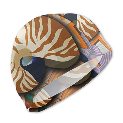 Badekappe, Badehut, Chambered Nautilus and Clam Paintings Swim Caps for Kids Boys and Girls Baby Bathing Caps for Long and Short Hair Nautilus Cap