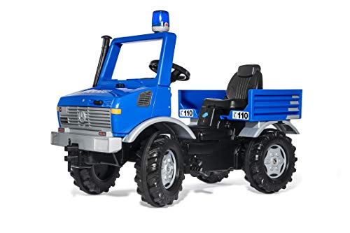 Rolly Toys RollyUnimog (Polizeiauto, Unimog, Blaulicht, Flüsterlaufreifen, Kinder 3 - 8 Jahre, Sitz verstellbar, Farbe blau) 038183