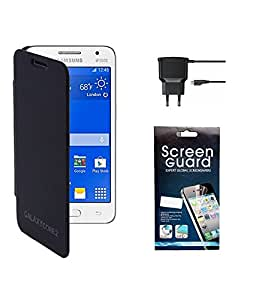 KolorEdge Flip Cover with Screen Protector with Travel Charger For Samsung Galaxy Core 2 - SM G355H - Blue