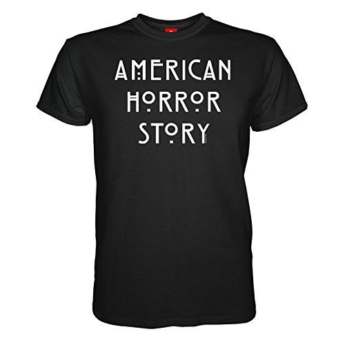 King of Merch - Herren T-Shirt - American Horror Story Logo Murder House Asylum Coven Freak Show Hotel Naomi Campbell Lady Gaga Kathy Bates Liz Taylor Hypodermic Sally Iris Schwarz M (American Horror Story-shirt Für Mädchen)