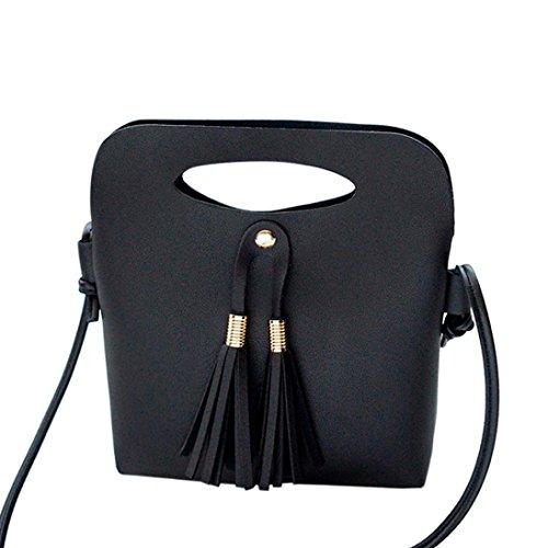 OHQ Shoulder Bag Noir Rouge Bleu Marron Rose Gris Mode Femmes Sac à BandoulièRe Main Seau De PièCe A Bandoulieres Pas Cher Marque Cuir Guess Langer (Noir)