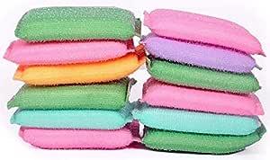 Ziesha Multi Colour Foam Pad Sponge Scourer Kitchen Scrubber for Dish/Utensils/Tiles Cleaning (14mm) (16)