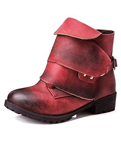 Minetom Ecowishh Damen Winter Elegant Stiefel Freizeitschuhe Weich Leder Combat Chelsea Wasserdicht Flache Schuhe Ankle Boots Rot EU 44 (Rote Pumpe Erwachsene Schuhe)