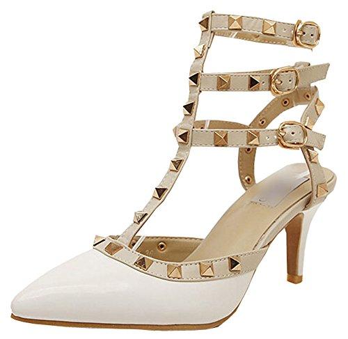 2015 Frühlings-Sommer Nietkopf High Heels buchstabieren Farbenwölbung Rom-Schuhe Absatzhöhe 7.5cm Weiß
