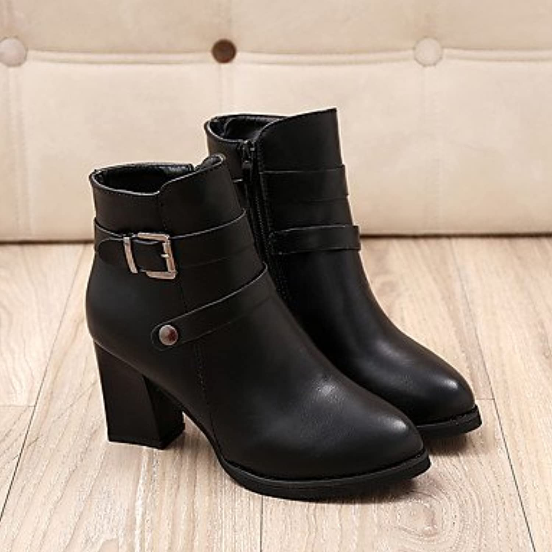 desy de mujer botines botas botines tobilleros Otoño Invierno PU (Poliuretano) formale negro rojo 2,5 – 4,5 cm...