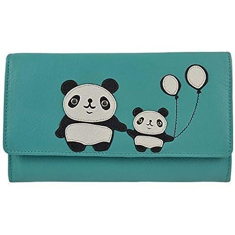 Señoras Gran Bi Fold Cartera de piel tipo cartera por mala colección Chi Chi Oso Panda