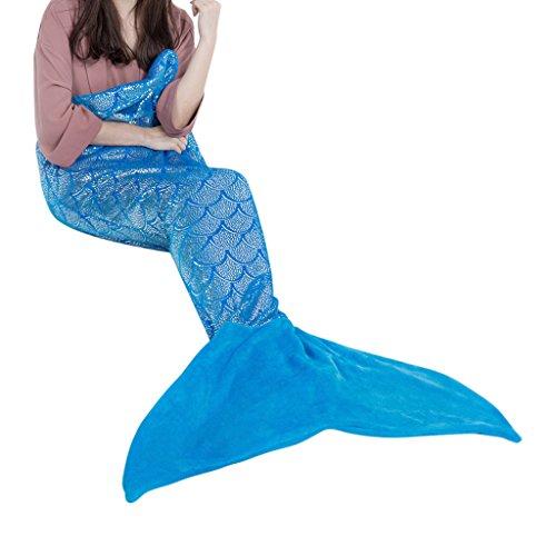 LANGRIA Meerjungfrau Decke Glitzernde Flanell Decke Fischschwanz Decke für Mädchen Damen Alle Jahreszeiten 60 '' x 25 '' (Blue)