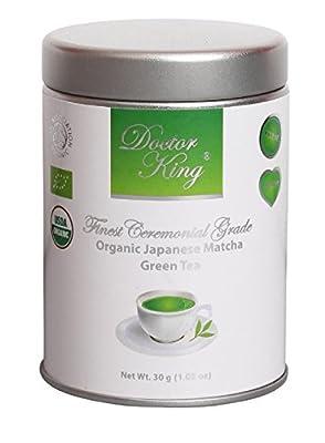 Docteur King (Doctor King®) Matcha bio Japonais de meilleur qualité | Plus haut grade: cérémonial grade A | Première récolte | Certifié biologique | Fabriqué au Japon | Parfait pour faire du thé matcha | Poids net 30 g