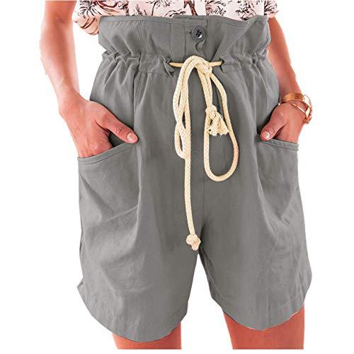 WOZOW Cargo Shorts Kurze Hose Damen Casual Solid Einfarbig Rüschen Bettwäsche Baumwolle Lose Mini Freizeithose Stoffhose Tie Riemchen High Waist A Line Cool Chino Trousers (M,Grau) -