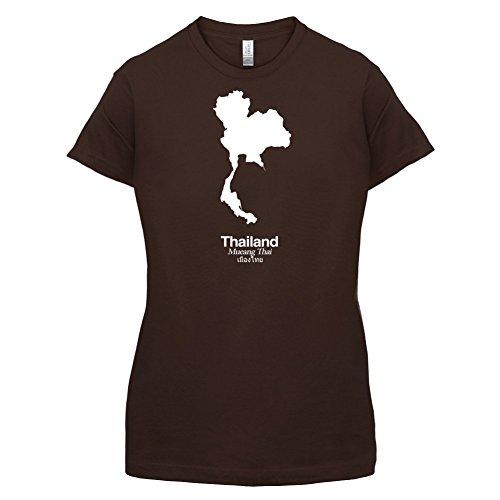 Thailand / Königreich Thailand Silhouette - Damen T-Shirt - 14 Farben Dunkles Schokobraun