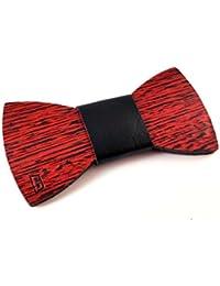 GIGETTO Papillon in legno spazzolato rosso (dimensione small), con nodo in ecopelle nera, cinturino regolabile