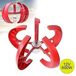 Riuty Windturbine, 600W 12V Windturbinengenerator Laterne Vertikaler Windgenerator 5 Blätter Windturbinensatz mit Steuergerät(Rot)
