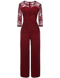 2129b84bce40bd YIFAN DREAM Damen Jumpsuit mit Spitze Bluse Overall Elegant Stilvoll Hohe  Taille Weite Beinhosen Lang Einteiler