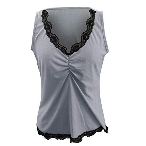 Lace Trim Tank Kleid (Frauen Lace Trim Cami Bequeme Tank Top Sexy ärmellose V-Ausschnitt Semi Sheer Mesh Bluse Sommer Plain Plissee Tunika T-Shirt)